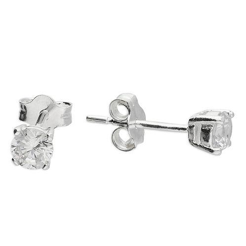 4mm Cubic Zirconia Claw Set Stud Earring