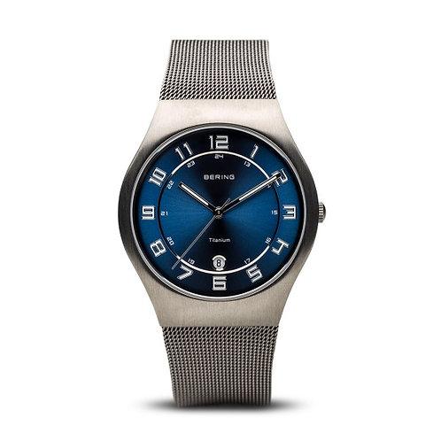 Bering Classic Silver Mesh Bracelet Blue Watch