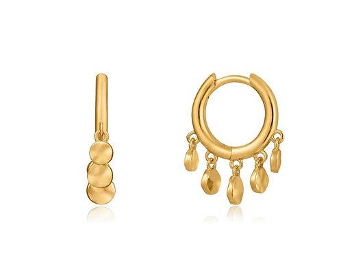 Gold Mini Disc Huggie Hoop Earrings