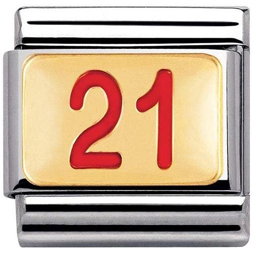 Nomination Gold & Red Enamel 21
