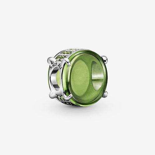 Silver Light Green Cabochon Charm