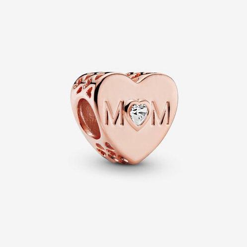 Rose Clear Mum Heart Charm