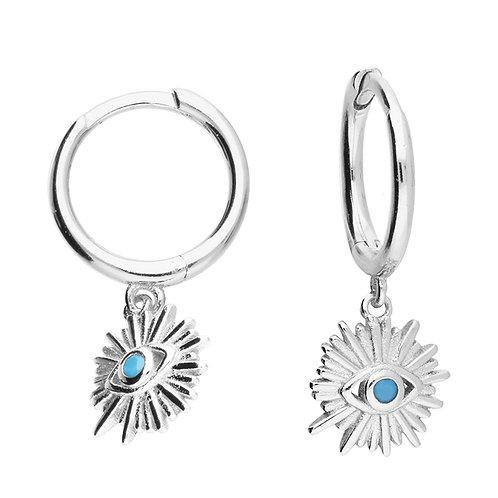 Sterling Silver Turquoise Eye Huggies