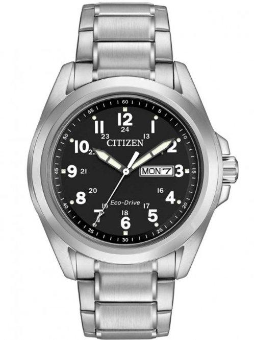 Citizen Men's Eco-Drive Black Sport Silver Bracelet Watch