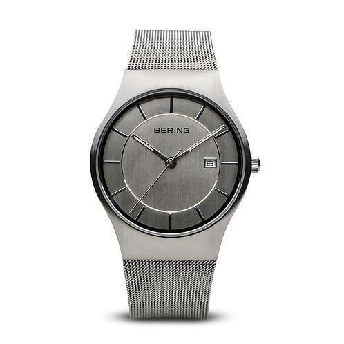 Bering Classic Polished Silver Mesh Strap Watch