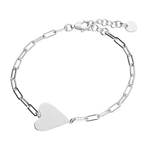 Sterling Silver Heart Flat Link 17cm Bracelet