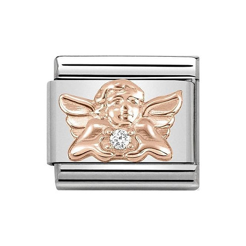 Nomination Rose Gold & White CZ Angel of Family