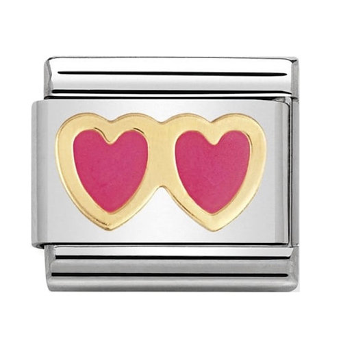 Nomination Gold & Pink Enamel Double Heart
