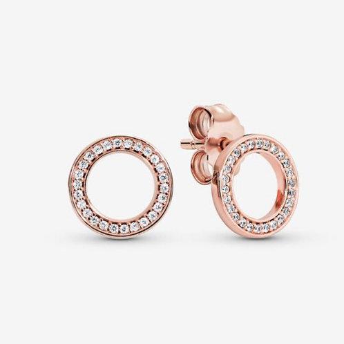 Rose Sparkling Circle Stud Earrings