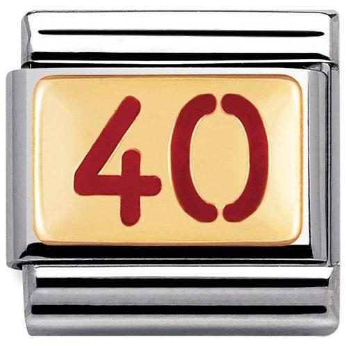 Nomination Gold & Red Enamel 40
