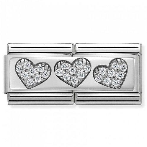 Nomination Silver Double Three Hearts