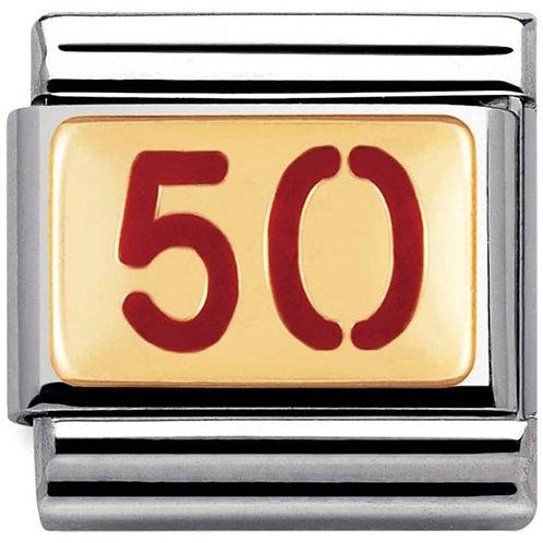 Nomination Gold & Red Enamel 50