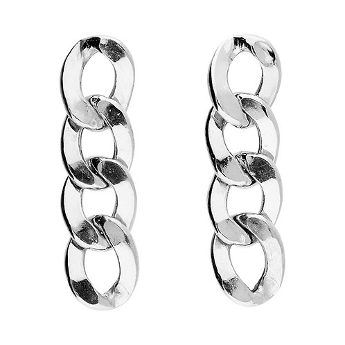 Sterling Silver Curb Chain Drop Stud