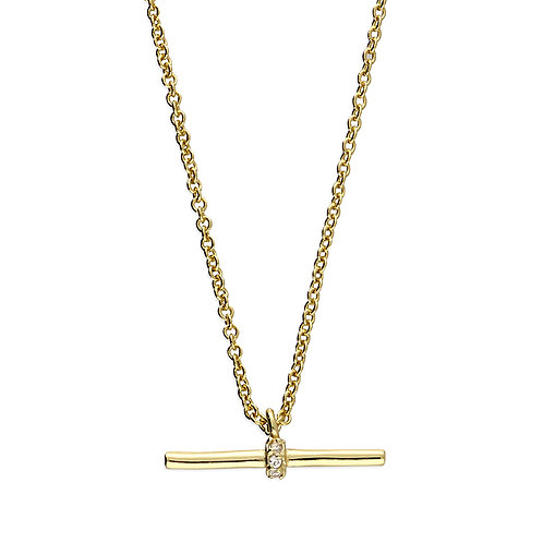 Sterling Silver Yellow Gold Plated Mini T-Bar Necklace