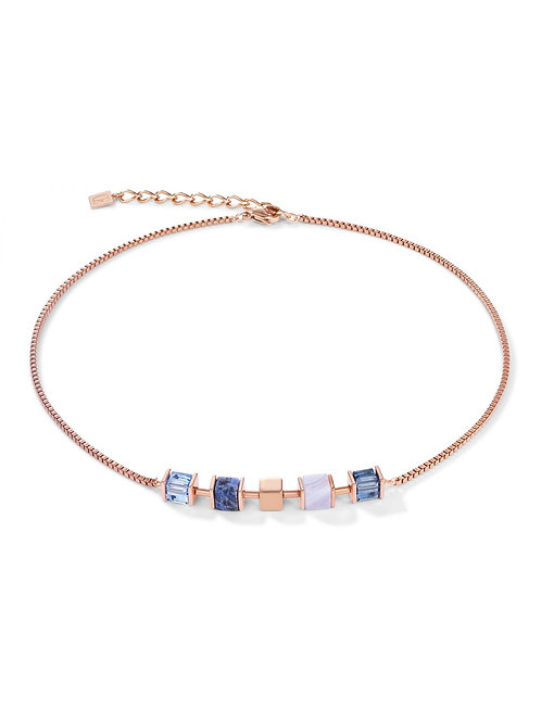 Coeur de Lion GeoCube Blue & Rose Necklace