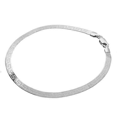 Sterling Silver 19cm Diamond-Cut Greek Key Herringbone Bracelet