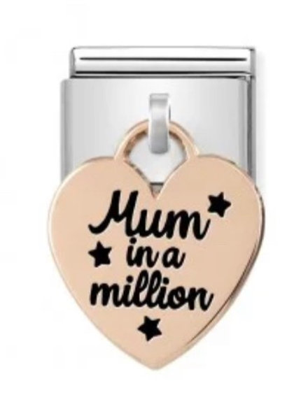 Nomination Rose Gold Mum In A Million Heart Drop