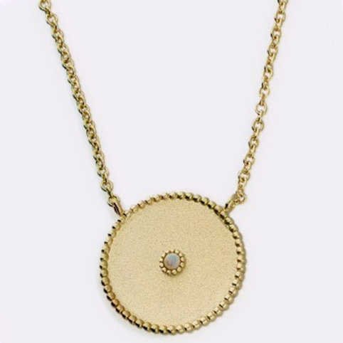 Sterling Silver Gold-Plated Satin Finish Disc with Small Synthetic Opal Necklace