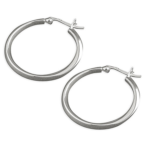 Sterling Silver 28mm D-Section Twisted Hoop