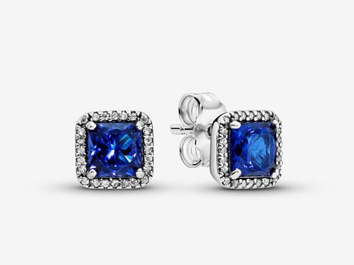Blue Square Sparkle Halo Stud Earrings