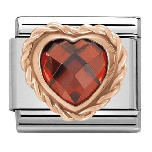 Nomination Rose Gold Red CZ Heart