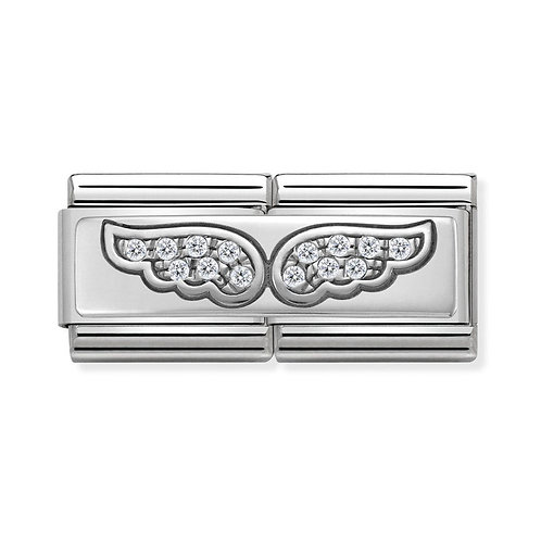 Nomination Silver Double Angel Wings