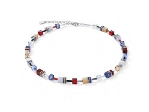 Coeur de Lion GeoCube Blue & Red Necklace