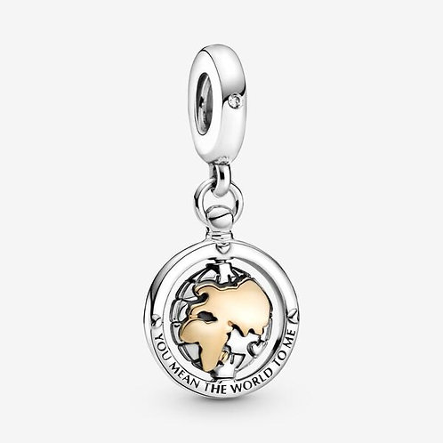 You Are My World Spinning Drop Charm