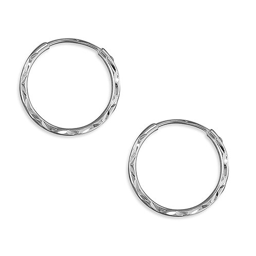Sterling Silver 15mm Diamond-Cut Silver Sleepers