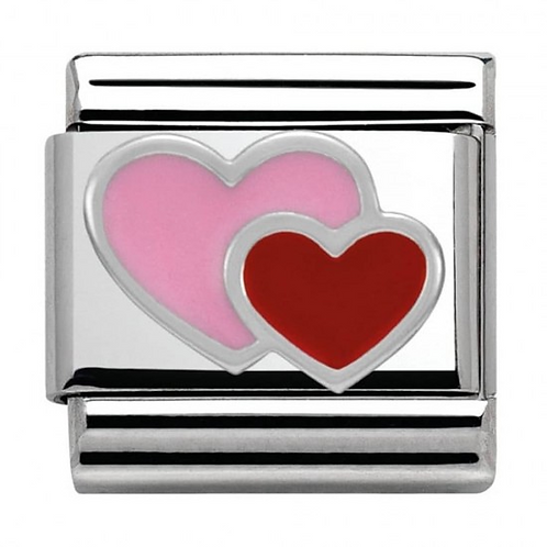Nomination Silver Pink & Red Hearts