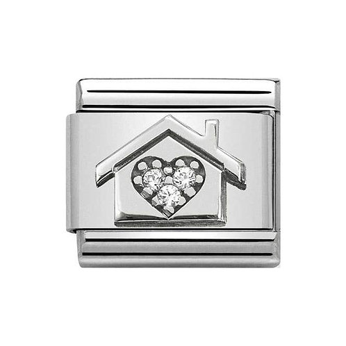 Nomination Silver & White CZ Home with Heart