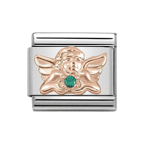 Nomination Rose Gold & Green CZ Angel of Good Luck