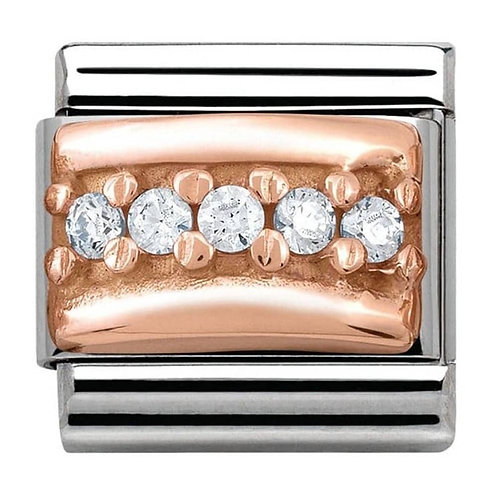 Nomination Rose Gold and White CZ Curved Pave