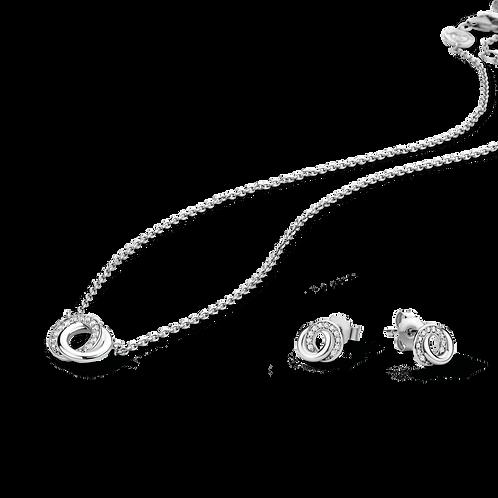 Ti Sento Never Ending Double Circle Necklace & Earring Set