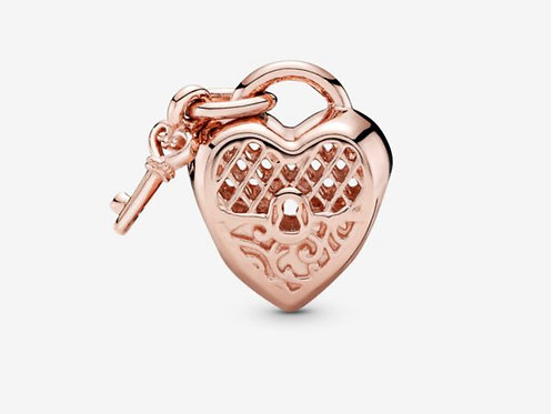 Rose Love You Heart Padlock Charm