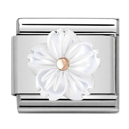 Nomination Rose Gold & White Mother of Pearl Flower