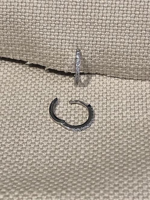 12mm Cubic Zirconia Small Hinged Hoop Earring