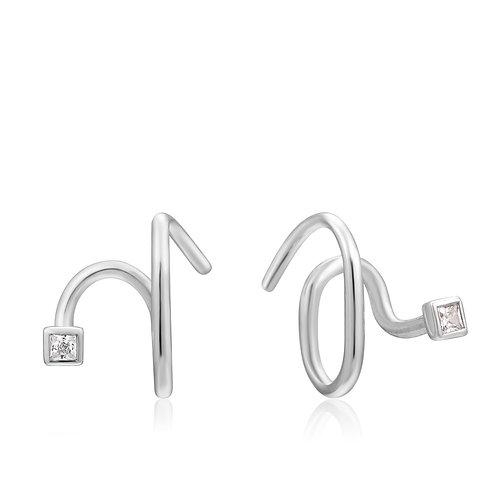 Silver Twist Square Sparkle Earrings