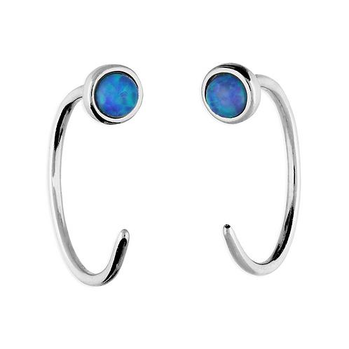 Sterling Silver 12mm Blue Opal Pull Through Hoop Earrings