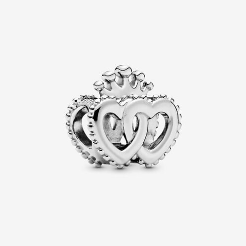 Crown & Interwined Hearts Charm