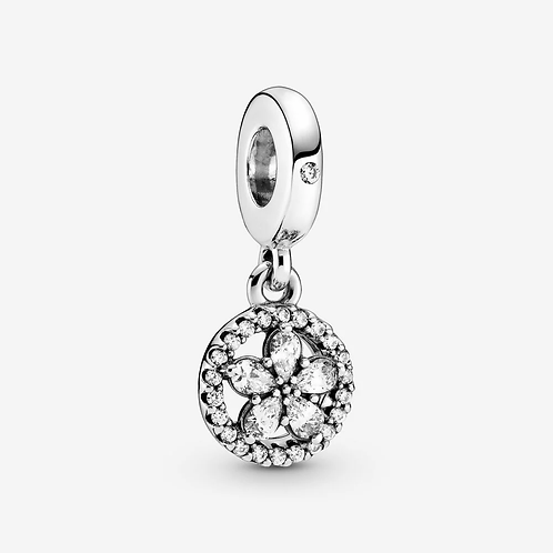 Sparkling Flower Circle Dangle Charm