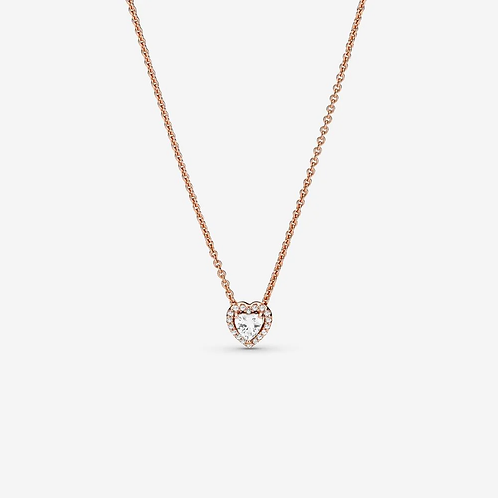 Rose Sparkling Heart Collier Necklace