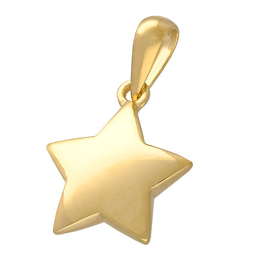 Sterling Silver Yellow Gold-Plated Domed Star Necklace