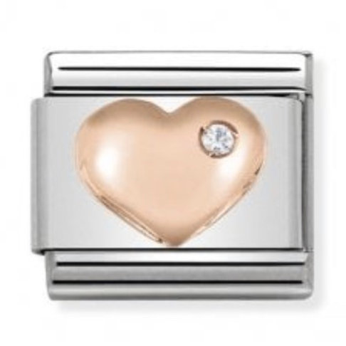 Nomination Rose Gold Heart with CZ