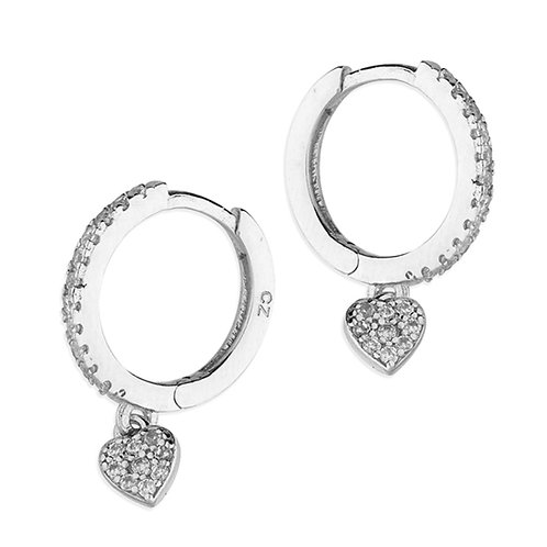 12mm Cubic Zirconia Heart Charm Huggie Hoop Earring