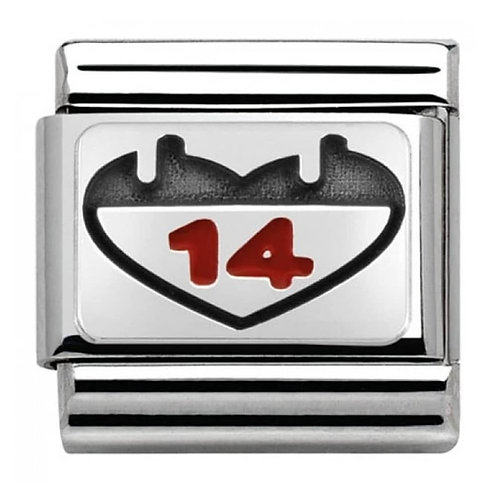 Nomination Silver 14 Heart