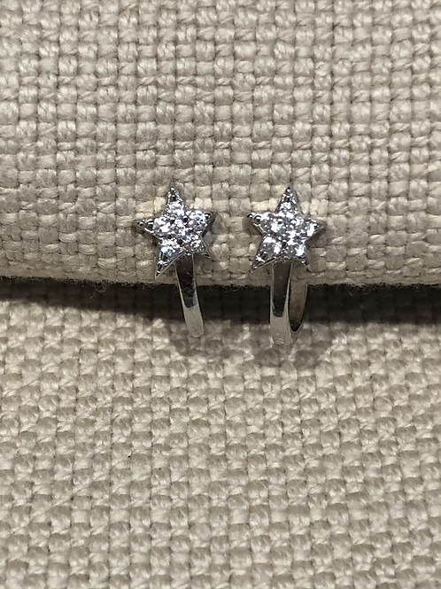 Sterling Silver Abstract White CZ Star J Hoop Studs