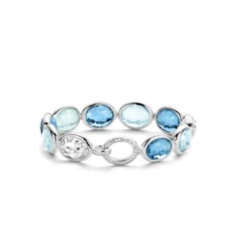 Ti Sento Silver Faceted Tri Colour Blue Crystal Bracelet