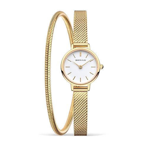 Bering Classic Polished Gold Watch & Bracelet Set
