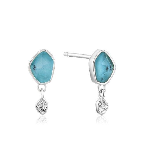 Turquoise Drop Silver Stud Earrings